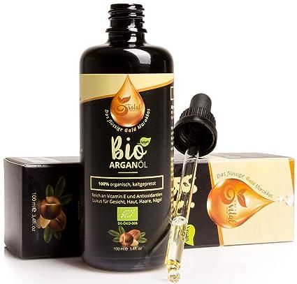 Aceite de argán orgánica para el pelo, la cara, la piel, las uñas