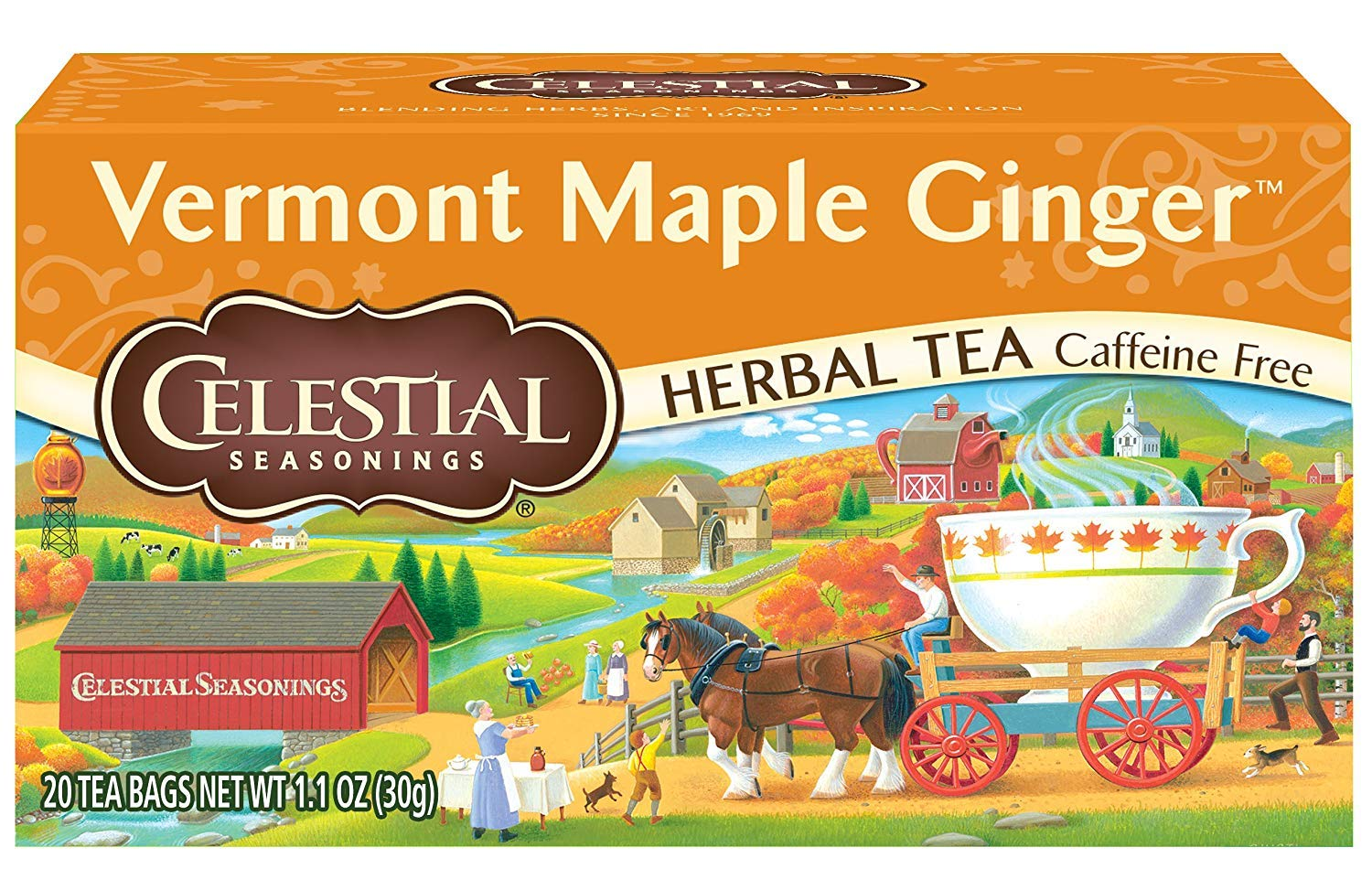 Celestial Seasonings Herbal Tea, Vermont Maple Ginger, 20 Count Box (Pack of 6)