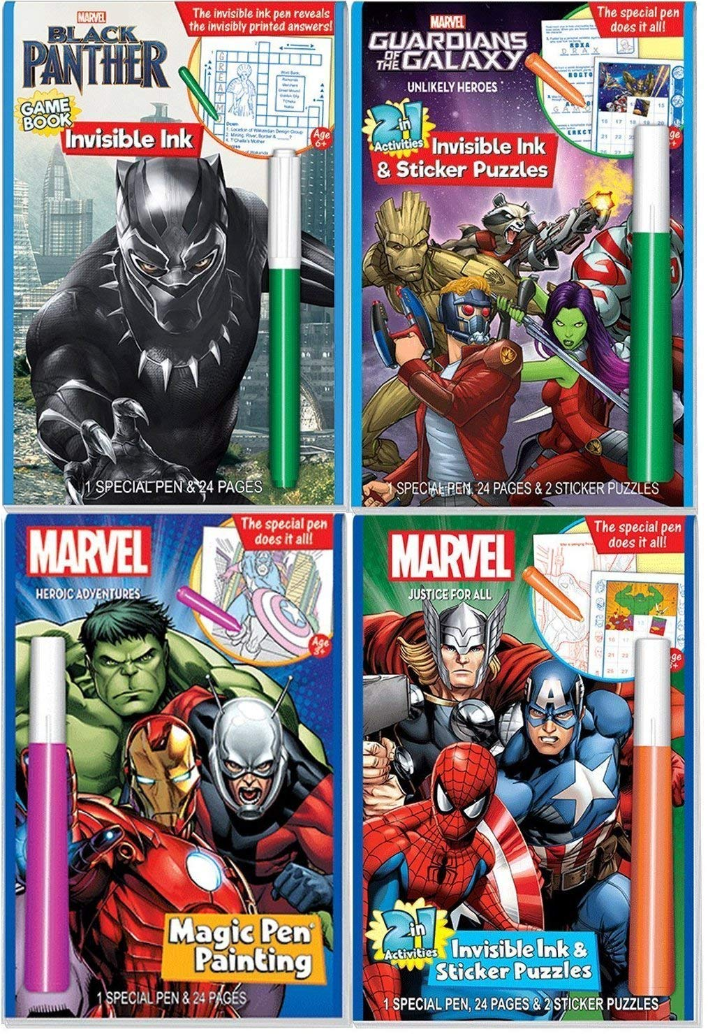 Includes: Black Panther Justice for All Lee Publications Heroic Adventures /& Guardians of the Galaxy coloring books Marvel Super Hero Characters Magic Pen Painting Activity Books for Boys with Zipafile Zipper Bag