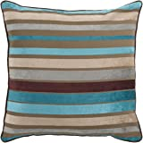 "Surya JS-024 Hand Crafted 60% Viscose / 40% Cotton Teal 18"" x 18"" Striped Decorative Pillow"