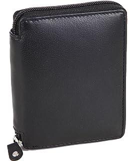 f03f570724a3a Geldbörse mit Reißverschluss Schwarz Portemonnaie Reißverschlussbörse Geldbeutel  Herren-Börse Echt-Leder Schwarz
