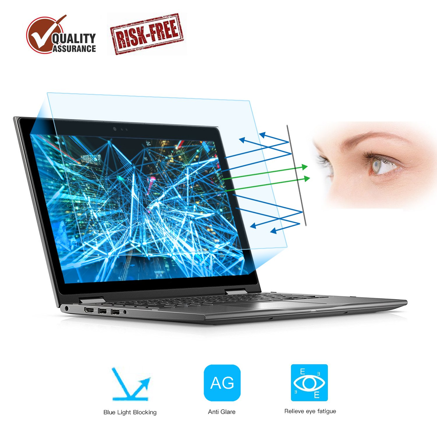 2 Pack 13.3'' Laptop Screen Protector -Blue Light Filter, Eye Protection Blue Light Blocking Anti Glare Screen Protector for All 13.3'' 16:9 Laptop (!!! Diagonal Length 13.3'', Not Include The Bezel)