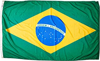 product image for Annin Flagmakers Model 190848 Brazil Flag Nylon SolarGuard NYL-Glo, 5x8 ft, 100% Made in USA to Official United Nations Design Specifications