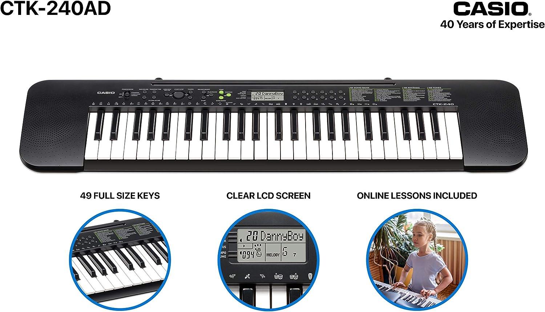 Casio CTK-240AD 49 Full-Size Keys Keyboard with AC Adapter ...