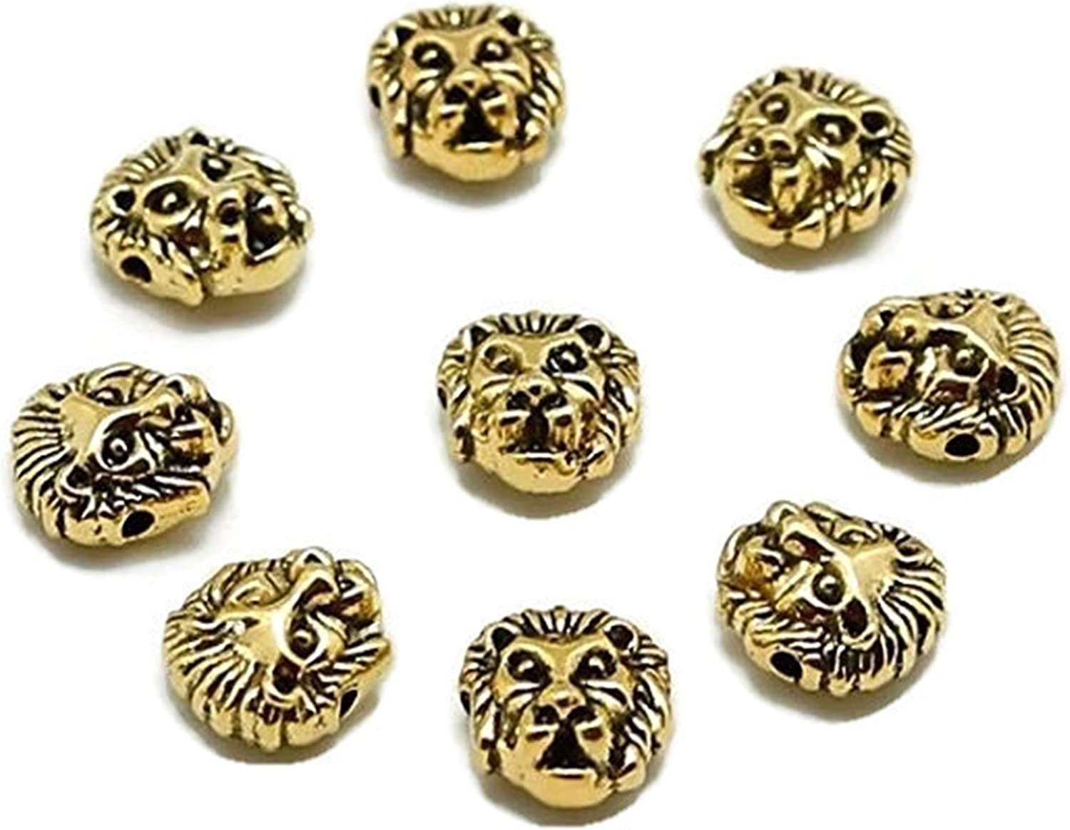 10 Pcs Vintage Metal Bead Lion Head Spacer Beads Charms DIY Bracelet Finding