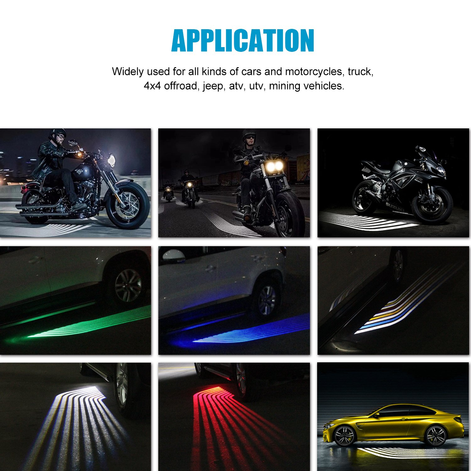 2Pcs Blue WEISIJI R3 LED Welcome Light Carpet Angel Wings Ghost Shadow Light LED Rock Light Courtesy Projector Underglow Light Car Door Exterior Light Ground Lamps for All Cars and Motorcycles