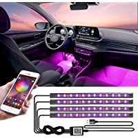 LED Interior Car Lights, App Controlled Car Interior Lights with USB Port, Multicolor Car LED Lights Interior as Ambient…