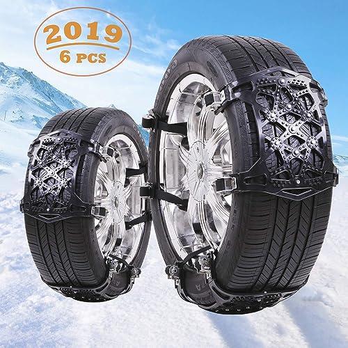 Qisiewell Cadenas Universales para Nieve Cadenas Antideslizantes para Automóviles Fácil de Montar TPU Acero Ancho de Neumáticos 165 285 mm Negro