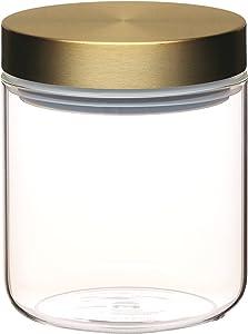 KitchenCraft MasterClass Airtight Glass Food Storage Jar with Brass Lid, Transparent, 700 ml (1.25 Pints)