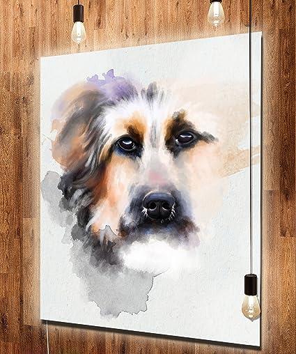 Amazon com: Designart MT13714-40-48-LED Sad Dog Watercolor