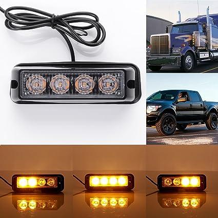 Gledto 12V Jaune 4 LED Feux de Pénétration Lumière Stroboscopique pour Voiture Fixation à vis 17 Modes Auto Flash Lampe Clignotant Avertissement