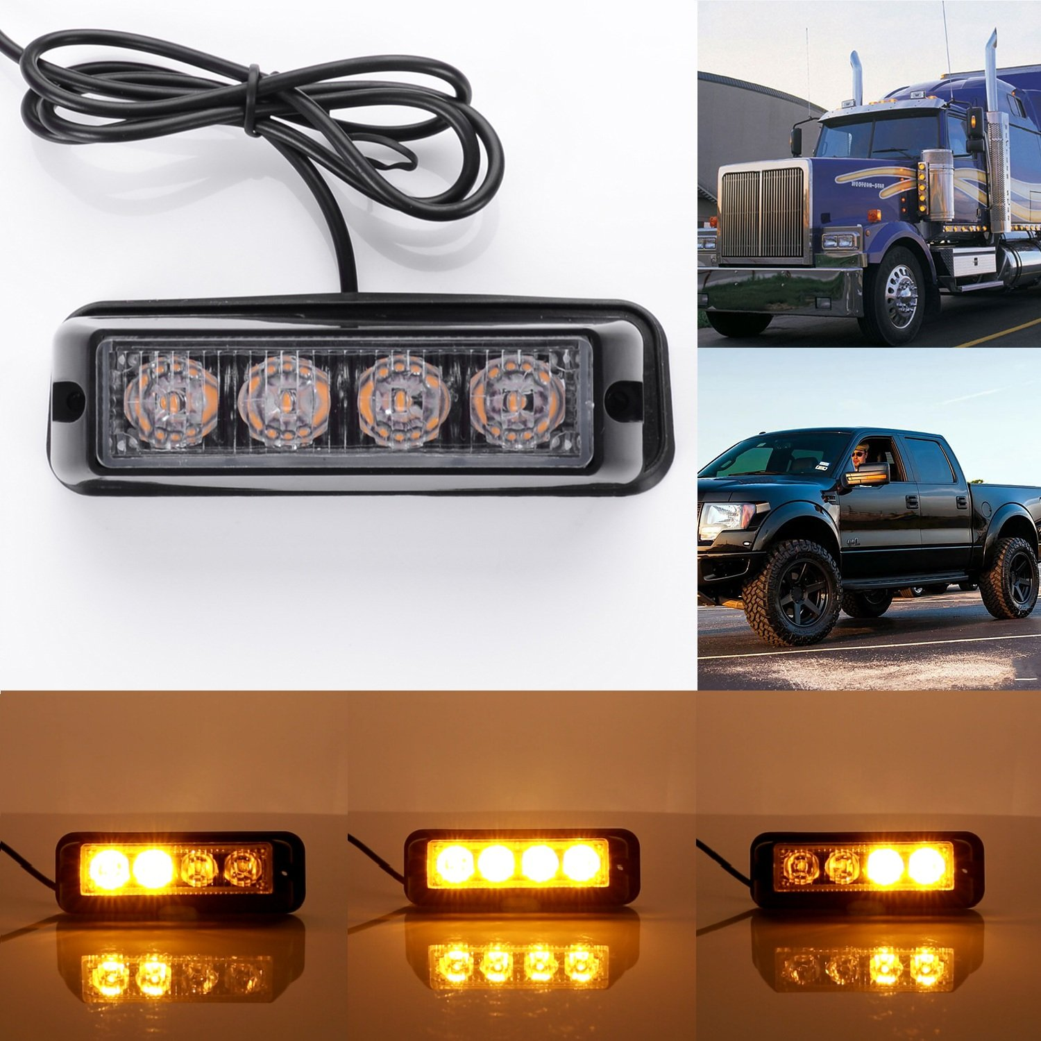 Gledto Ad Alta Intensità Faro Stroboscopica 12V - 24V 36W 12LED Giallo + Interruttore Law Enforcement LED Strobe Light Bar per Auto Camion SUV - 7 Modalità Flash
