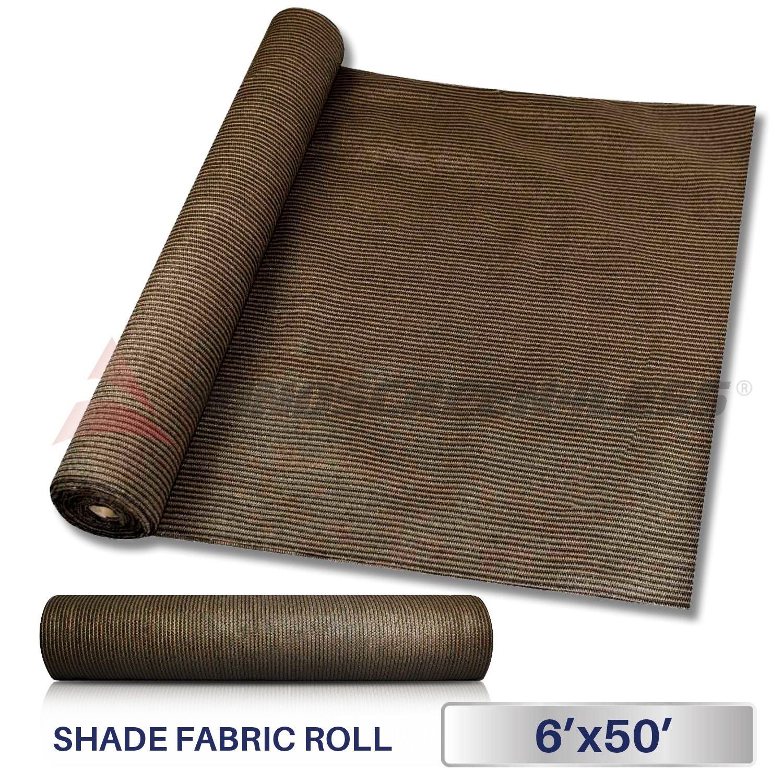 Windscreen4less Brown Sunblock Shade Cloth,95 UV Block Shade Fabric Roll 6ft x 50ft