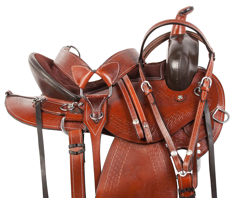 Manaal Enterprises ユース 子供 プレミアム レザー ウェスタン ポニー ミニチュア 馬 サドル タック お揃い レザー ヘッドストール + 乳首 + すそ サイズ 25.4cm & 30.48cm シート 12\  B07HN24J1T
