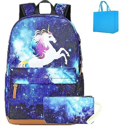 molto carino 4745c 50202 Galaxy Zaino Bambina Borse Scuola Unicorno Zaini Ragazze Adolescenti  Bambino Zainetti bambini Zainetto Zaino Leggero con Penna Astuccio blu (blu)