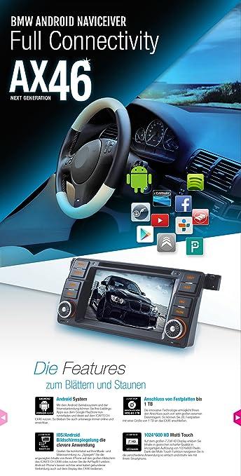 Android 7 BMW Serie 3 E46 navegación Premium - 1 seg Turbo empiezes, 1024 * 600, iPhone reflexión, 1,4 gHz 1 GB + RAM y otros extras perfectamente integrado ...