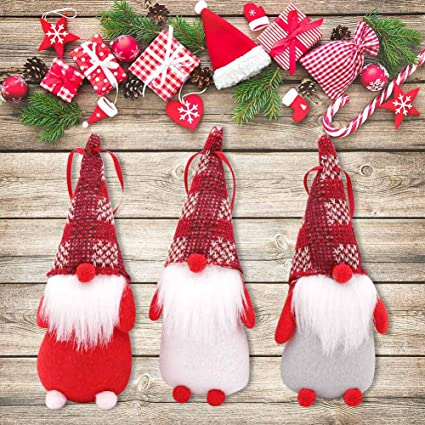 aerwo felt christmas santa gnomes plush set of 3 red white and gray handmade swedish - Handmade Felt Christmas Decorations