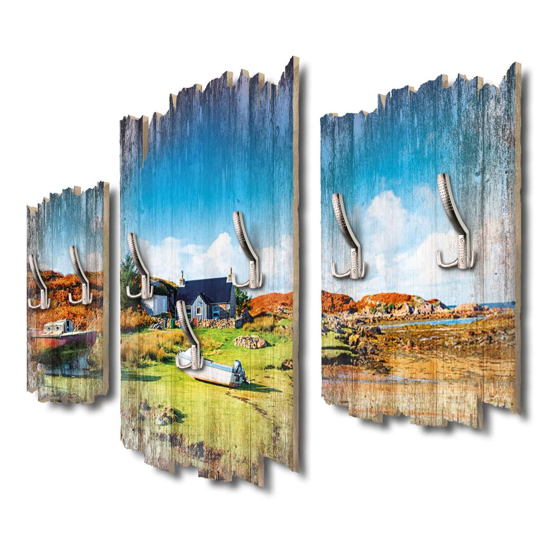 Kreative Feder Isle of Mull Schottland Designer Wandgarderobe Flurgarderobe Wandpaneele 95 x 60 cm aus MDF-Holz DTGH013