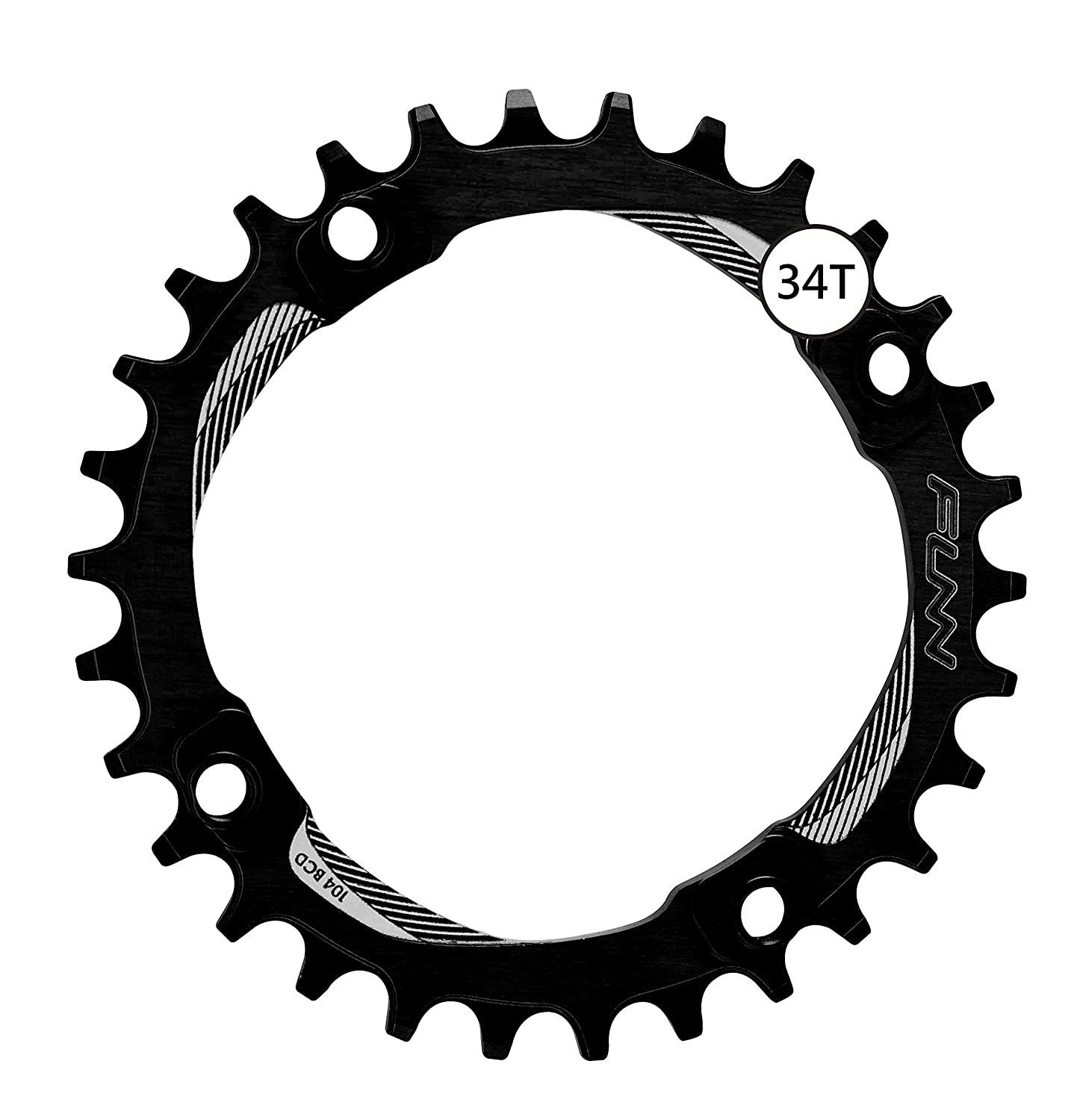FunnソロNarrow Wide Chainring 34t B076P97P56ブラック