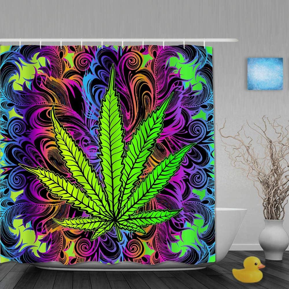 AIKIBELL Cortina de baño Repelente al Agua,Hoja de Cannabis, Marihuana, Hierba, Hierba, Fondo Ganja,Cortinas de baño de poliéster de diseño 3D con 12 Ganchos