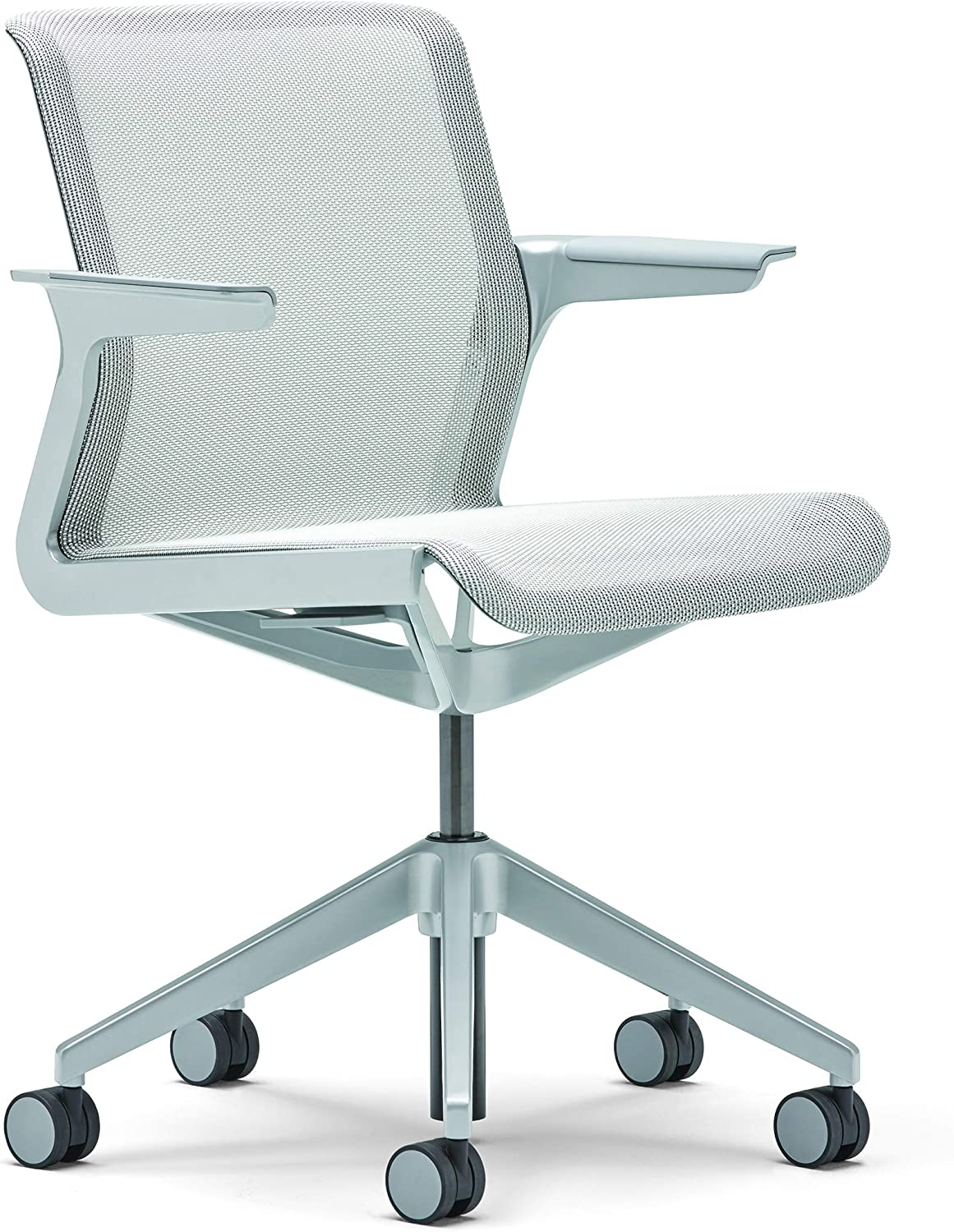 Allsteel Light Gray Clarity Task Chair with Fixed Arms and Platinum Mesh