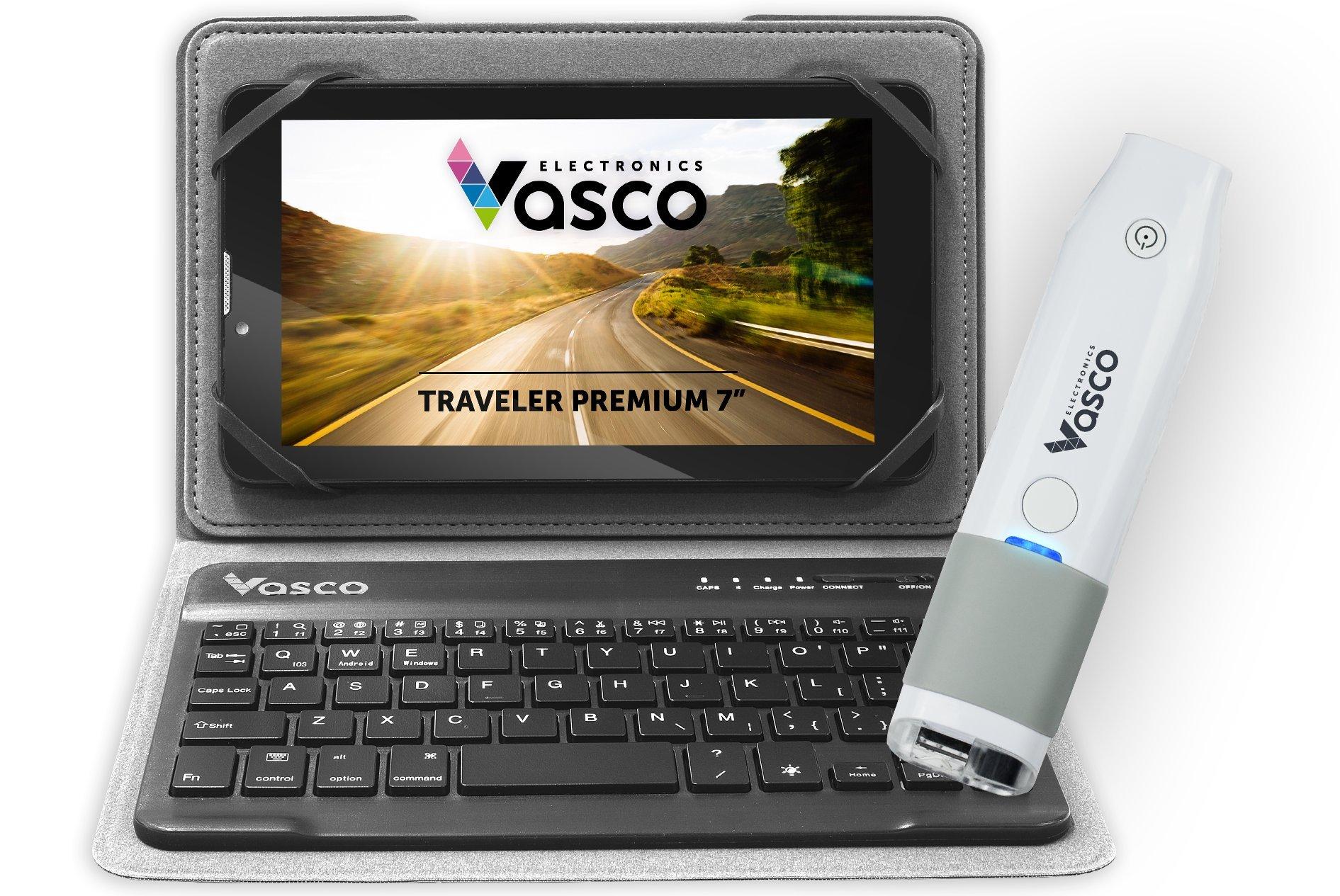 Vasco Traveler Premium 7'' + Scanner + Keyboard: Speech Translator, GPS Navigation, Free Phone