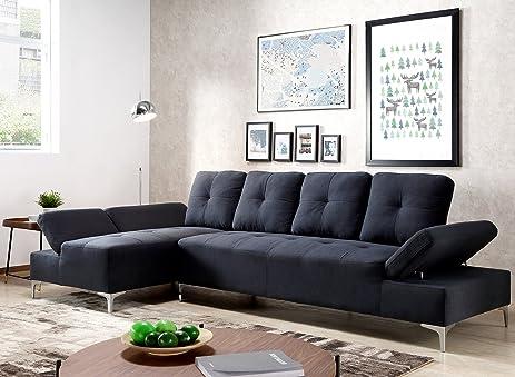 Harper Bright Design Sectional Sofa Set Living Room Sofa Corner Sofa (Dark  Blue)