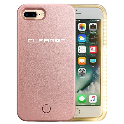 iphone 8 rose gold. clearon selfie light case for iphone 7 \u0026 8 plus - led illuminated up iphone rose gold e