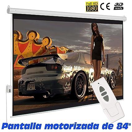 Pantalla de proyeccion motorizada para proyector , cajetin de Acero Lacado en Blanco, Pantalla para proyector electrica con Mando inalambrico, Auto ...