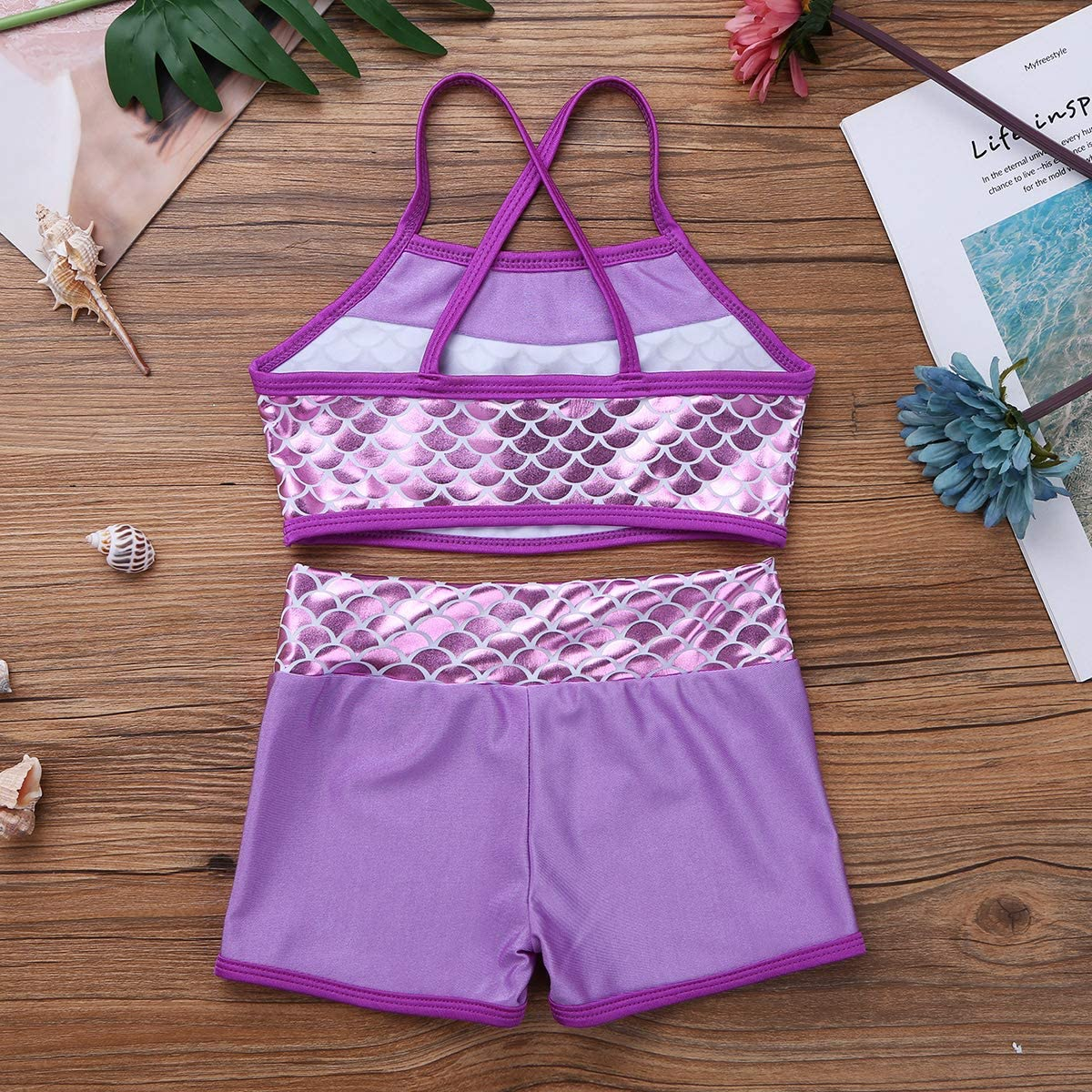 Mufeng Kids Girls Basic 2 Piece Active Dancewear Outfit Sequined Crop Top and Shorts Set for Gymnastics Dancing Workout