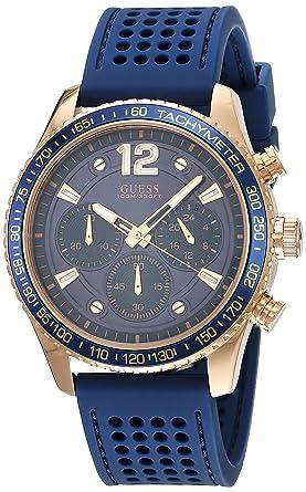 GUESS Fleet Homme 44mm Bracelet Caoutchouc Bleu Quartz Montre W0971G3