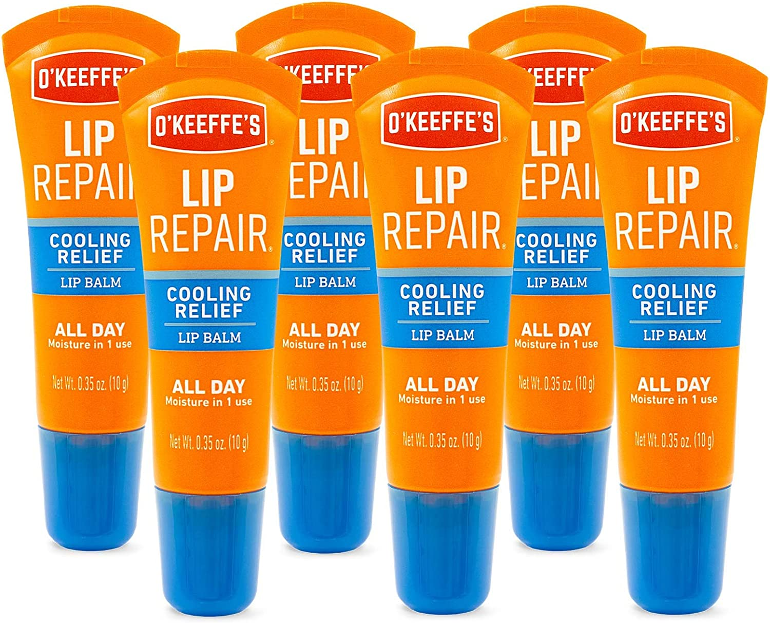 O'Keeffe's Cooling Relief Lip Repair Lip Balm.35 Ounce Tube, (Pack of 6)