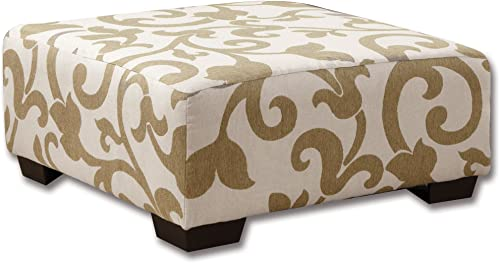 HOMES Inside Out ioHOMES Volos Padded Swirl Ottoman, Beige