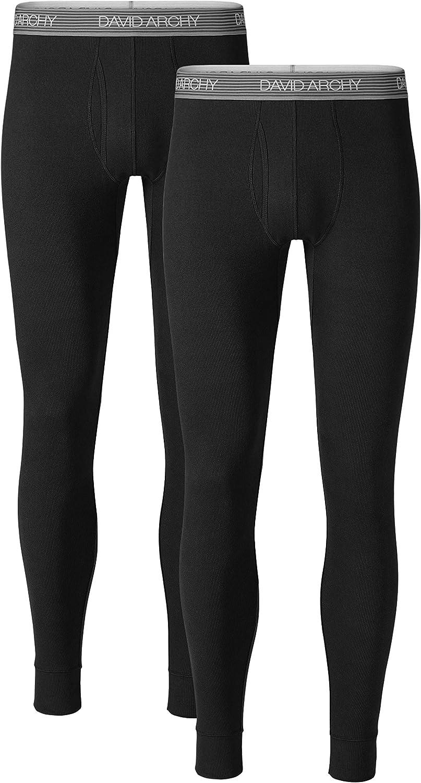 David Archy Mens 2 Pack Soft Cotton Thermal Pants Rib Stretchy Base Layer Thermal Underwear Bottoms Long Johns Leggings XL, Black//Dark Gray
