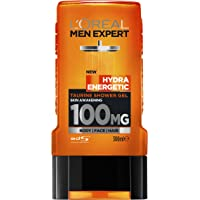 L'Oréal Paris Men Expert Hydra Energetic Taurine Shower Gel For Men, 3 in 1 for Face, Hair and Body, 300ml