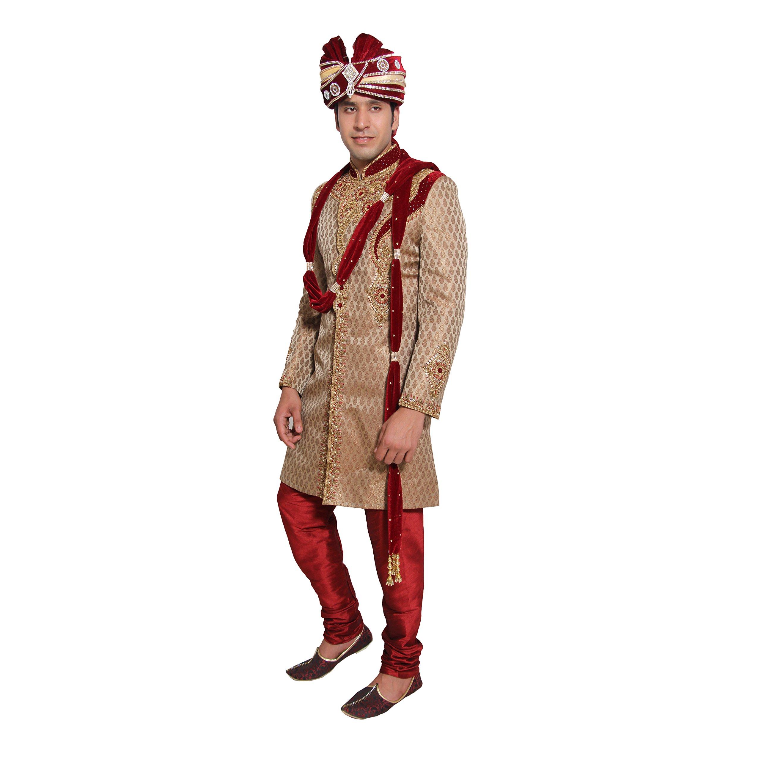 Indian Wedding Kurta Pajama Sherwani for Men Banarasi Silk Maroon Kurta Set by Favoroski (Image #2)