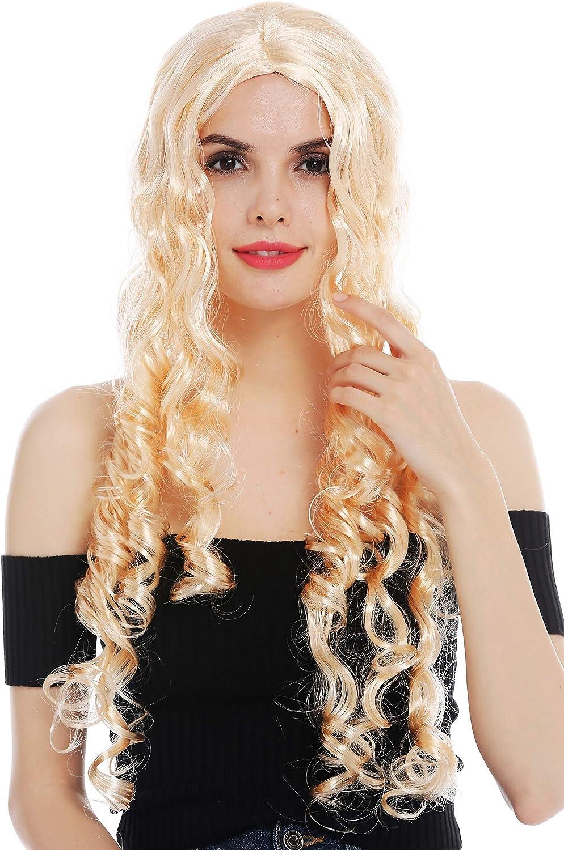 WIG ME UP ® - 59275-P02 Peluca Carnaval Mujeres rizos Muy Largos Raya en Medio Rubio Claro Hada Princesa