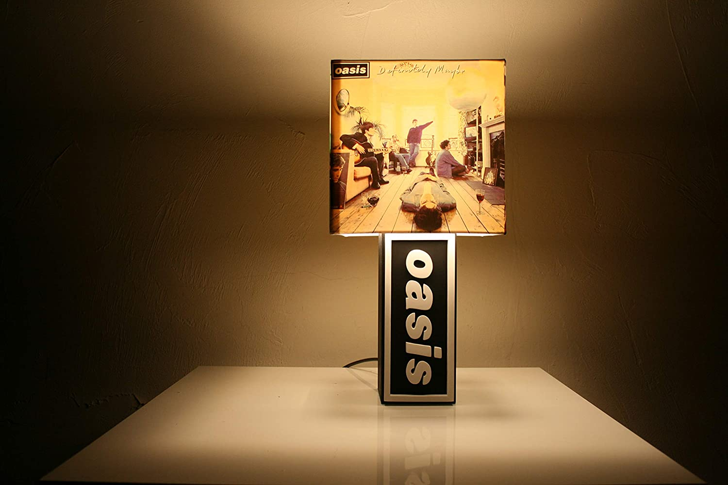 Handmade Oasis Lamp + Album Cover Shade - Definitely Maybe, What's the Story, Be Here Now, Liam Gallagher What' s the Story
