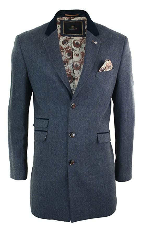 1920s Mens Coats & Jackets History CAVANI Mens 3/4 Long Wool Blue Peaky Blinders Overcoat Jacket Herringbone Tweed Vintage Navy 36 $132.99 AT vintagedancer.com