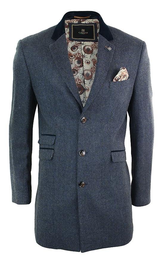 1920s Men's Coats & Jackets History CAVANI Mens 3/4 Long Wool Blue Peaky Blinders Overcoat Jacket Herringbone Tweed Vintage Navy 36 $132.99 AT vintagedancer.com