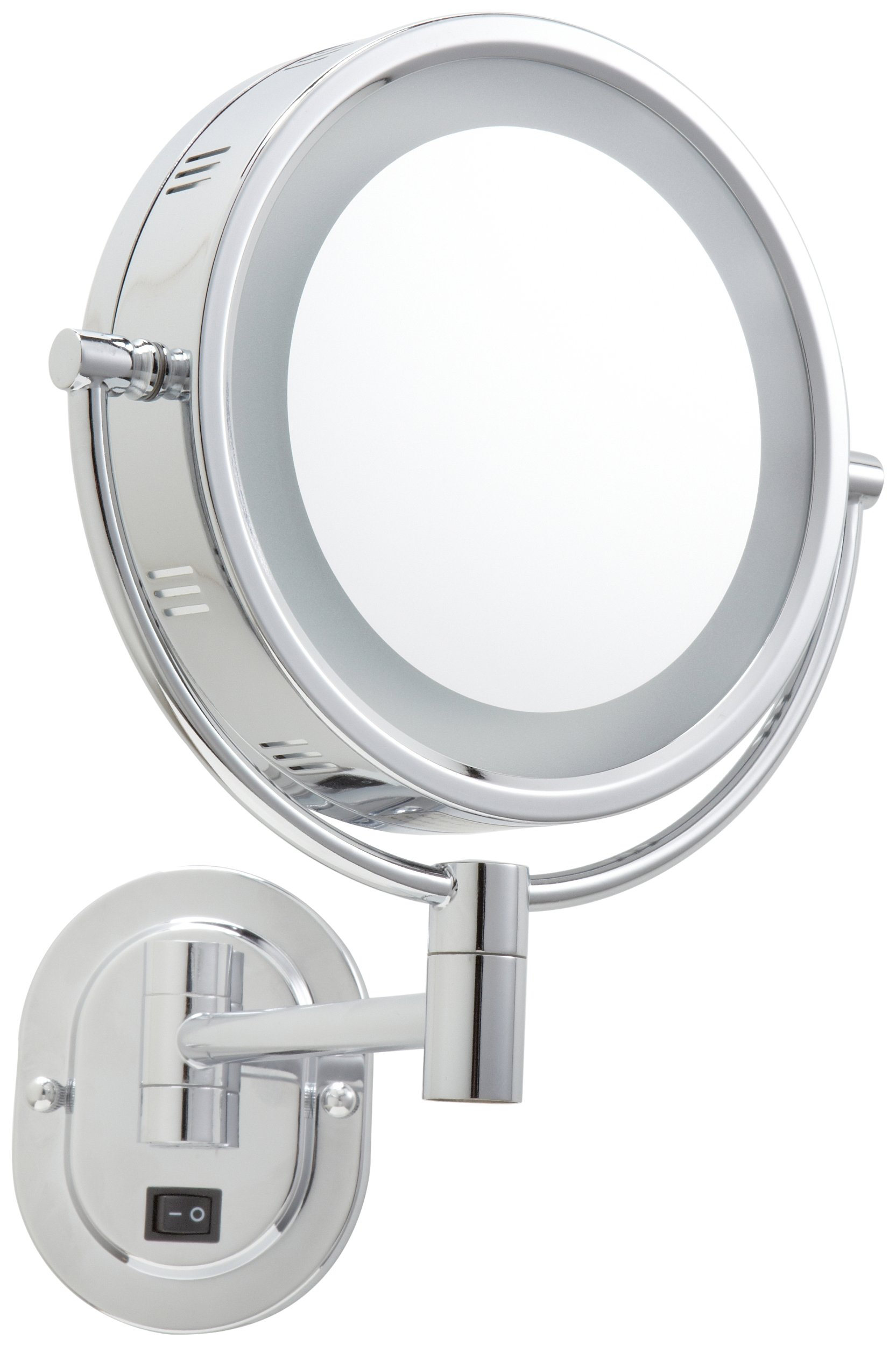 Jerdon HL165CD 8-Inch Lighted Wall Mount Direct Wire Makeup Mirror with 5x Magnification, Chrome Finish by Jerdon (Image #3)