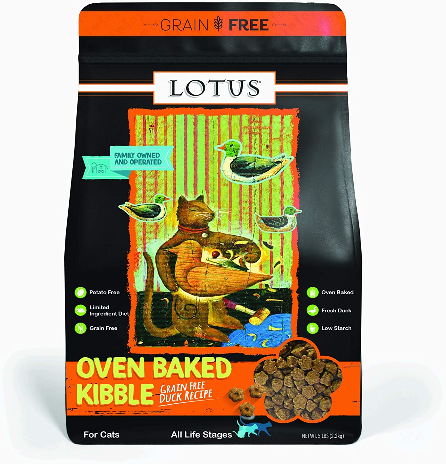 Lotus Grain-Free Oven Baked Duck Adult Cat Dry Food Recipe 5 Pounds