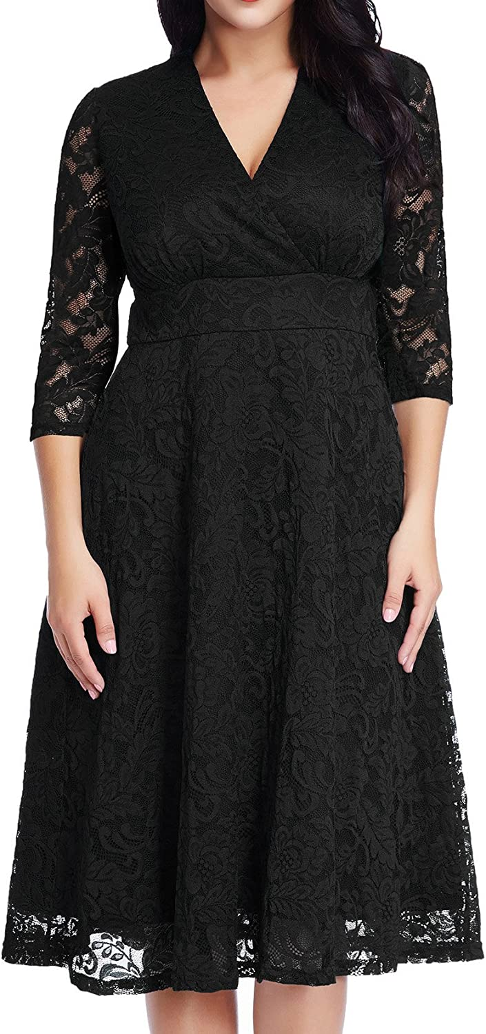 GRAPENT Womens Lace Plus Size Mother of The Bride Skater Dress Bridal Wedding Party