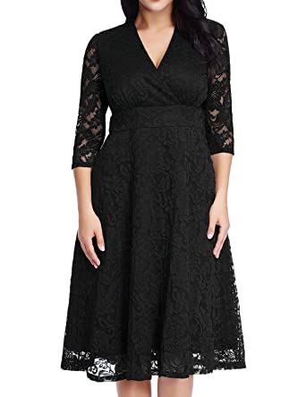 GRAPENT Women s Lace Plus Size Mother of The Bride Skater Dress Bridal  Wedding Party Black 14W dd2cd5ea7