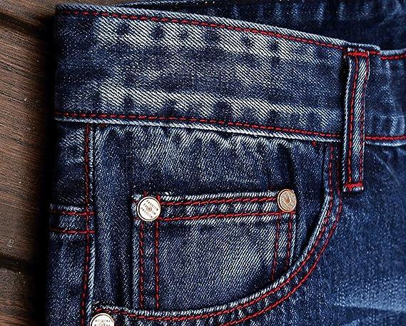 245f328fb1fc CHFYI Männer Mittlere Taille Gerade Slim Fit Jeans Mode Zerrissene Jeans  Ohne Gürtel  Amazon.de  Bekleidung