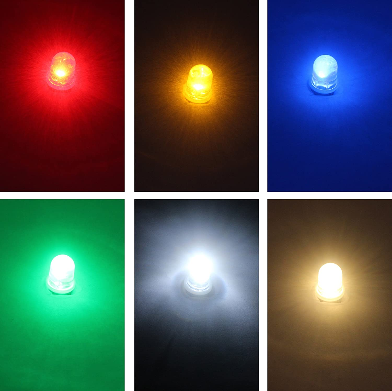 GutReise 10pcs E10 Screw 3V 4.5V 6V 12V 24V Spot Led Bulb Light Lamps Warm White Yellow Blue Green Red Cold White+10pcs E10 Base DC3V, Red