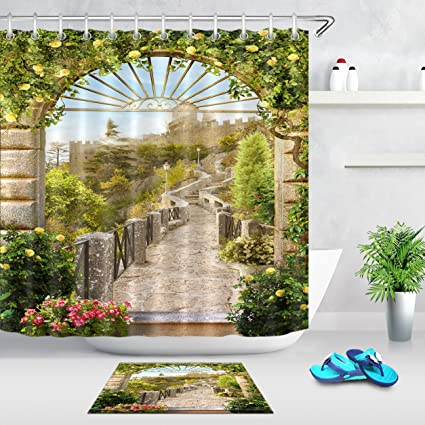 Scenery Outside Window Waterproof Fabric Home Decor Shower Curtain Bathroom Mat