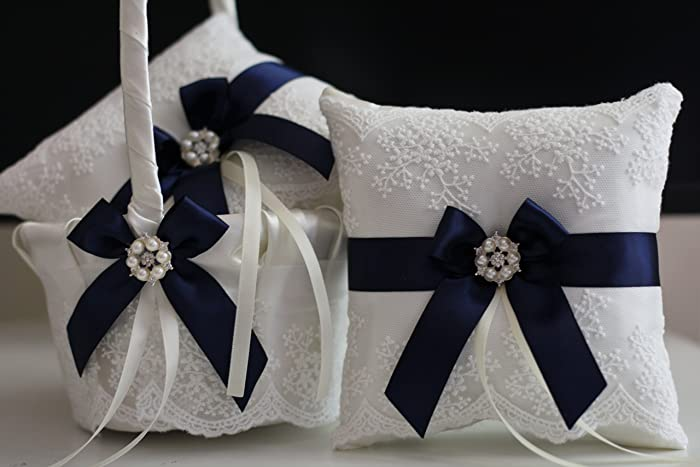 25b359cb3ce7e Image Unavailable. Image not available for. Color: Navy Blue Flower Girl  Baskets ...