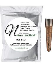 Natural Method Hair Color -100% Natural & Chemical Free, Henna Hair Dye: (DARK BROWN) 100 Gms/3.52 Oz + Free Wood Applicator