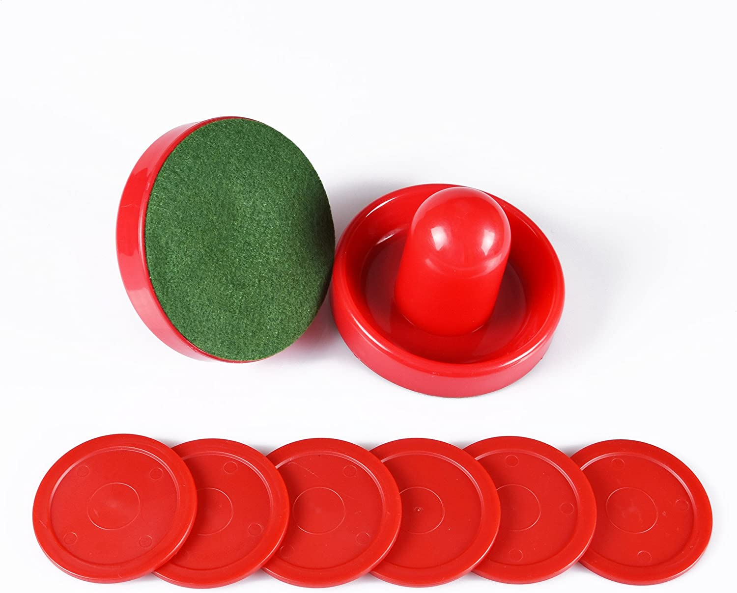 Air Hockey Red Replacement Pucks & Slider Pusher Goalies for Game Tables, Equipment, Accessories (2 Striker, 6 Puck Pack) (Normal) : Sports & Outdoors